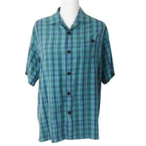 Tommy Bahama Blue Plaid Original Fit Silk …